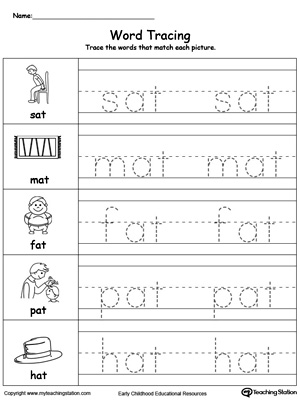 word-tracing-at-words-worksheet