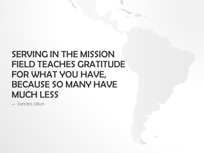 Serving mission field gratitude